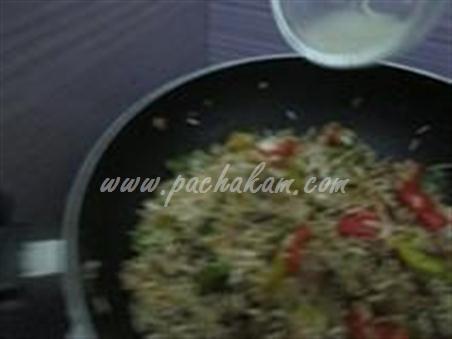 Step 7 Chinese Mushroom-Capsicum Pulao Recipe