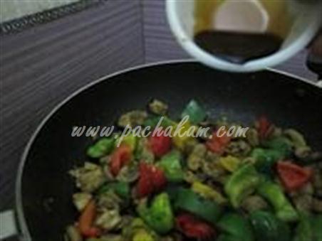 Step 6 Chinese Mushroom-Capsicum Pulao Recipe