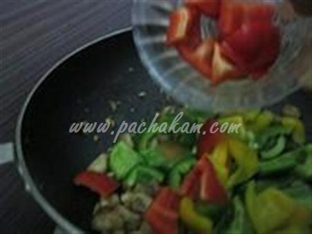 Step 5 Chinese Mushroom-Capsicum Pulao Recipe
